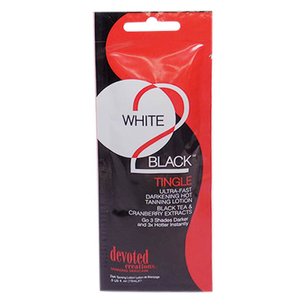 Devoted Creations WHITE 2 BLACK TINGLE Hot Tanning Lotion - .5 oz. Packet