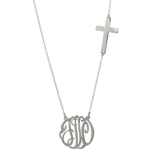 Personalized Script Cutout with Cross Necklace