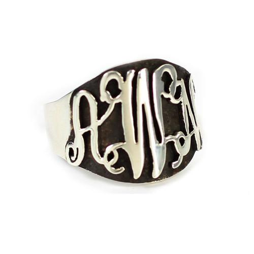 Personalized Oxidized Silver Script Ring