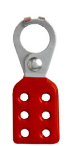 1 inch opening Hasp for Lockout - Tagout. Interlocking style, steel with Red rubberized coating