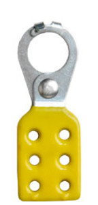 1 inch opening Hasp for Lockout - Tagout. Interlocking style, steel with Yellow rubberized coating