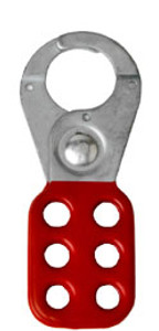 1 inch opening Hasp for Lockout - Tagout. Standard style, steel with Red rubberized coating