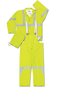 MCR Luminator 38 mm PVC 3 Piece Class III Rainsuit Yellow with Silver Stripes