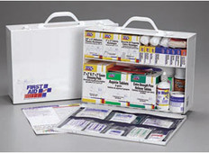 2-Shelf, 515-Piece Industrial First Aid Station (With 8-Pocket, Blue Vinyl Liner)