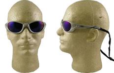 AO Safety #11652 Fuel II Safety Eyewear Silver Frame w/ Blue Mirror Lens