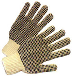 Cotton String Knit Gloves with Dots on Both Sides (SOLD BY THE PAIR)