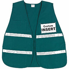 Incident Command Safety Vests, GREEN with Silver Stripes and Clear Pocket Front and Back