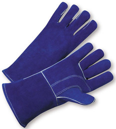 Welding Gloves with Blue Leather & Kevlar Fiber Stitches (sold by the dozen)