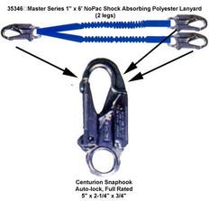 """Master Series 1"""" x 6' NoPac Shock Absorbing Polyester Lanyard (2 legs)"""