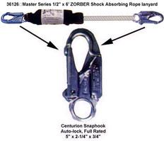 """Master Series 1/2"""" x 6' ZORBER Shock Absorbing Rope lanyard"""