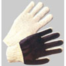 Cotton String Knit Glove with Black PVC Palm on one side (sold by the dozen)