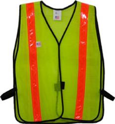 Safety Vests Lime Standard (1 3/8 inch Orange Stripes)