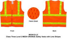 Double Stripe Design ANSI 2010 Sleeveless Class 2, MESH ORANGE Safety Vests - Lime stripes