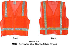 MESH Surveyors Vest Orange Silver Stripes