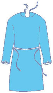 Sunsoft BLUE Isolation Gown with Elastic Wrists, Neck and Waist Ties (50 per case) Regular Size