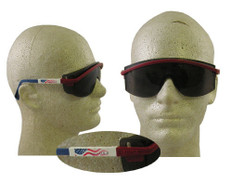 Uvex #S1179 Astro 3000 Safety Eyewear Red/White/Blue Frame w/ Smoke Lens