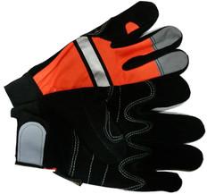 Hi-Vis Split DOUBLE PALM Cowhide Multi-task Glove with Velcro Closure, Orange (PAIR)