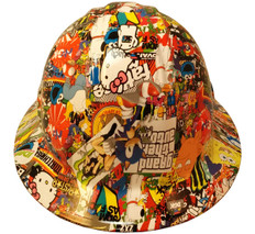 Hydrographic  FULL BRIM Hard Hat-Ratchet Suspension - Cartoon Sticker Bomb 2