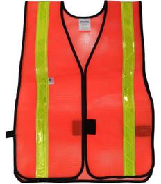 Safety Vests  PVC  Coated  Orange (1.5 Inch Lime Stripes)