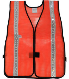 Safety Vests  PVC Coated  Orange (1.5 Inch Silver Stripes)