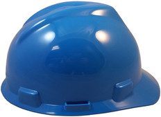 MSA # 463943 V-Gard Cap Style Safety Helmets with Staz-On Liners Blue