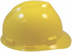 MSA # 463944 V-Gard Cap Style Safety Helmets with Staz-On Liners Yellow