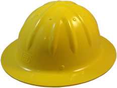 Aluminum Skull Bucket Full Brim Safety Helmets with Ratchet Liners – Yellow