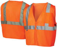Pyramex  Hi-Vis Self Extinguishing Mesh Class 2  Safety Vests -  Orange w/ Silver Stripes - RVZ2120SE