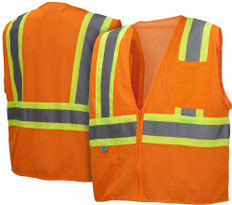 Pyramex  Hi-Vis Self Extinguishing Mesh  Class 2 Safety Vests -  Orange w/ Contrasting Stripes - RVZ2220SE