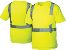 Pyramex  Hi-Vis T-Shirts, 1 Pocket  Class 2 - Lime w/ Silver Stripes - RTS2110