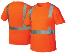 Pyramex  Hi-Vis T-Shirts, 1 Pocket  Class 2 - Orange w/ Silver Stripes - RTS2120