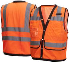 Pyramex  Hi-Vis  8 Pocket Safety Vest  Class 2 - Orange w/Black Trim - RVMS2820