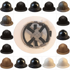 Pyramex RIDGELINE Full Brim Safety Helmets - 6 Point Ratchet Liners - All Patterns