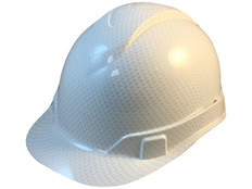 Oblique View Pyramex Ridgeline Cap Style Hard Hat with Shiny White Graphite Pattern
