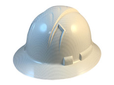 Oblique View Pyramex Ridgeline Full Brim Style Hard Hat with Shiny White Graphite Pattern