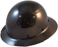DAX Actual Carbon Fiber Shell Full Brim Hard Hat - Glossy Black