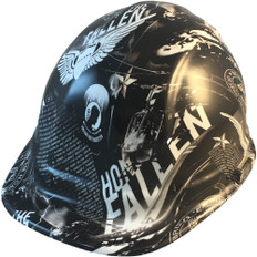 Hydrographic CAP STYLE Hard Hat-Ratchet Suspension - Honor The Fallen - Oblique View