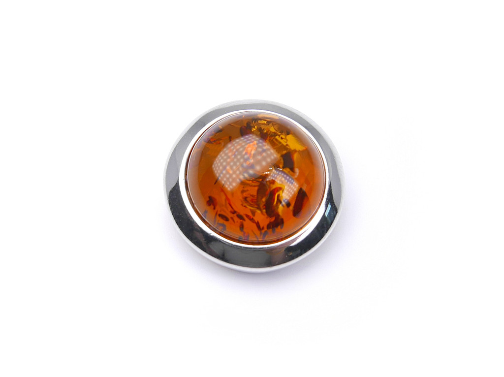 Baltic amber round moon shape silver pendant