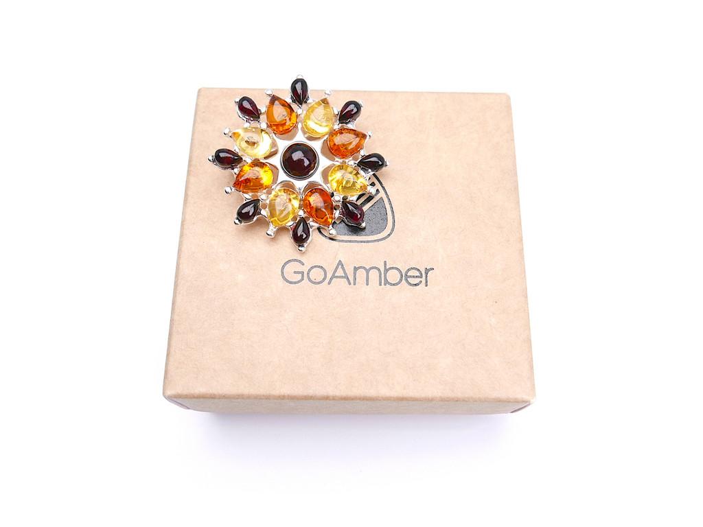 Modern Baltic amber flower brooch in sterling silver