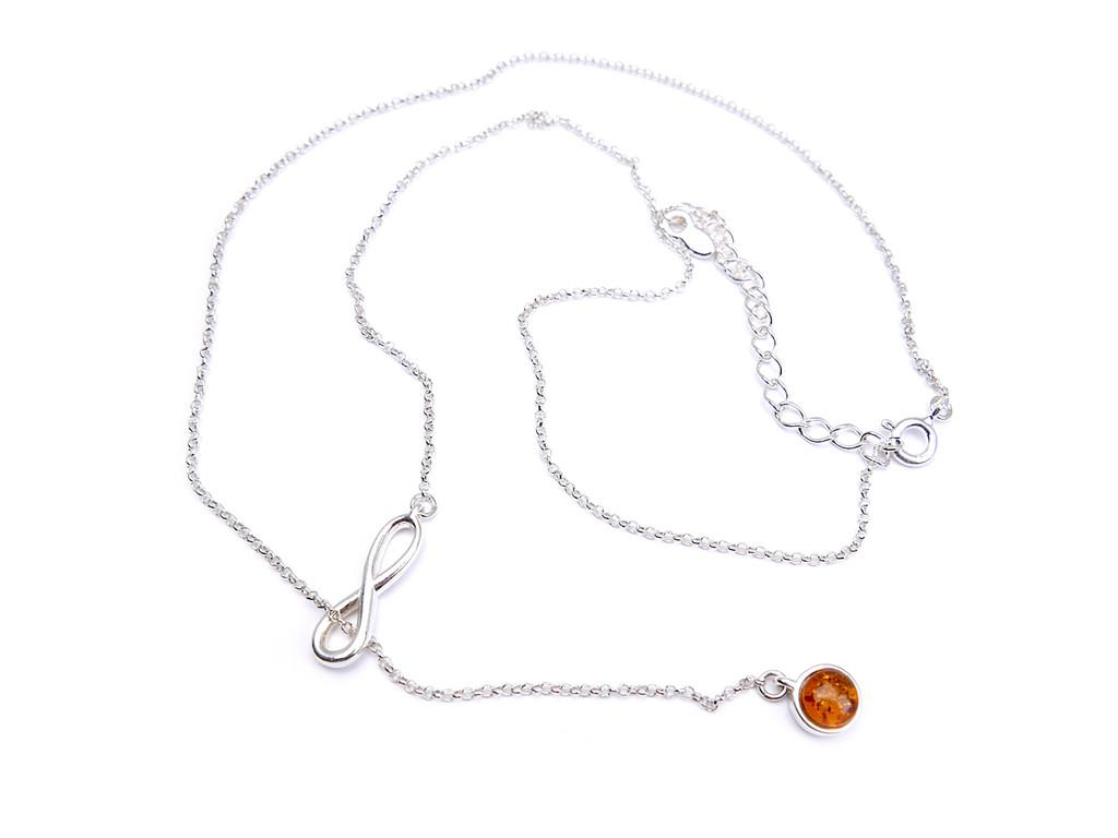 Adjustable Baltic amber moon shape pendant necklace