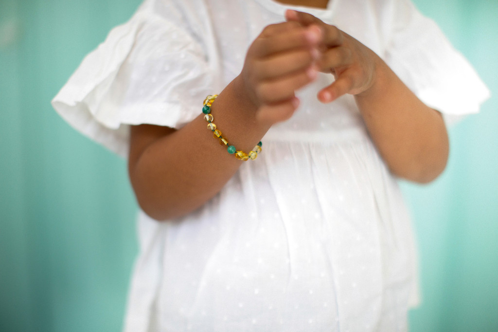 Light green Baltic amber & turquoise beads teething & colic anklet / bracelet