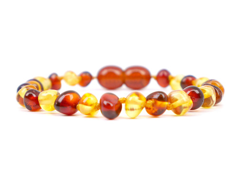 Baroque beads multicoloured amber teething anklet / bracelet