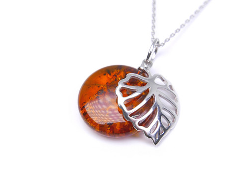 Cognac Baltic amber leaf silver pendant