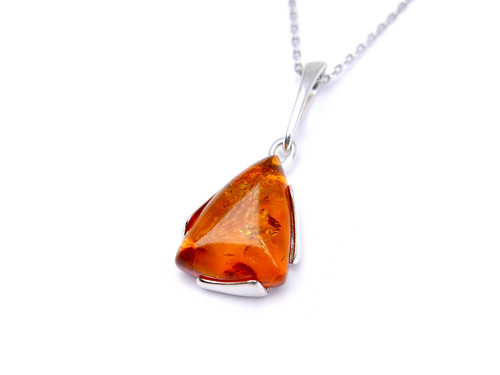 Baltic amber silver triangular pendant