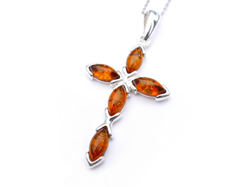 Baltic amber cross pendant in sterling silver