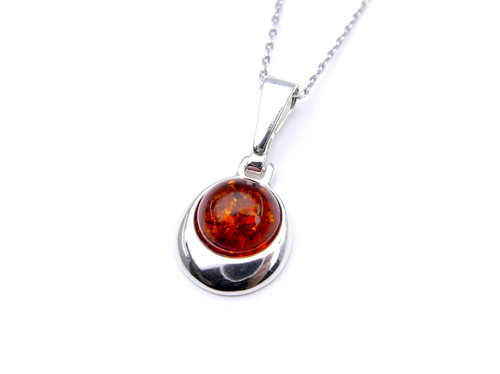 Baltic amber pear pendant in sterling silver