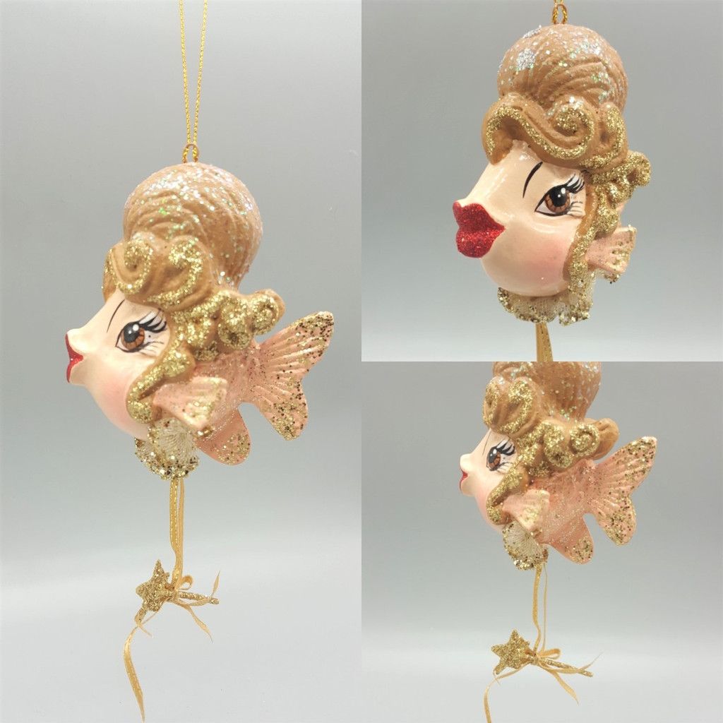 Cinderella Christmas Tree Decoration Ornament Kissing Fish has been handmade and hand painted with sparkling kissing lips.