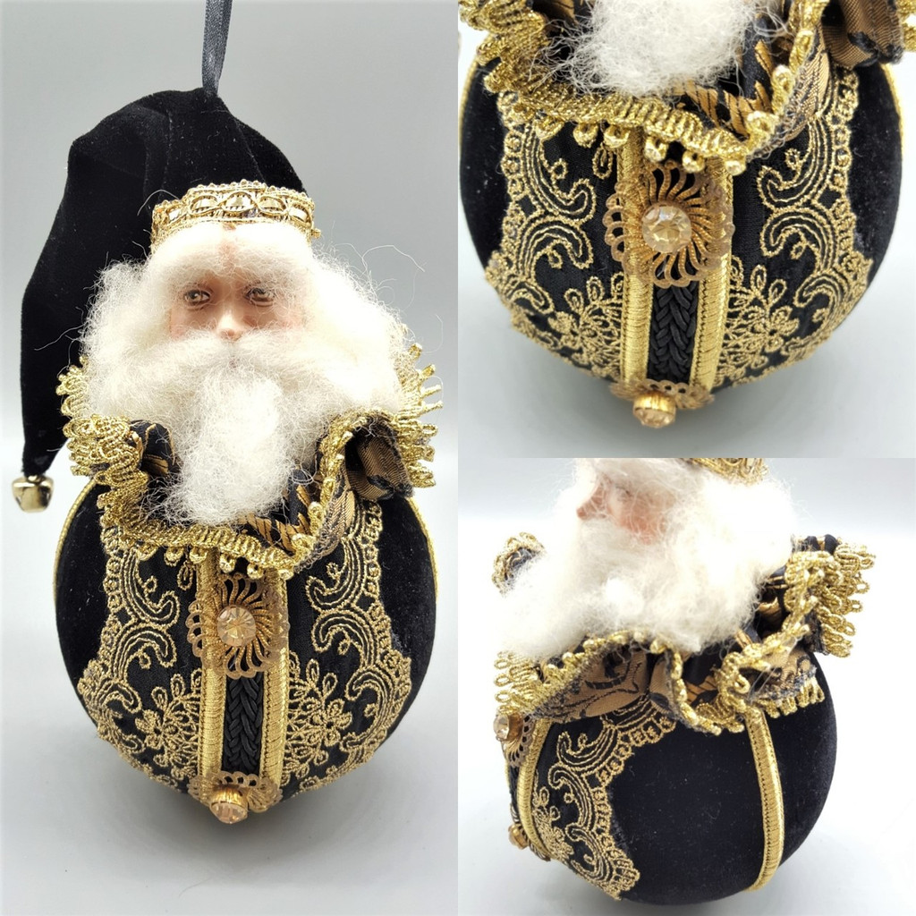 Black & Gold Santa lavish Christmas tree decoration with beautiful large round velvet bauble body with crystal.