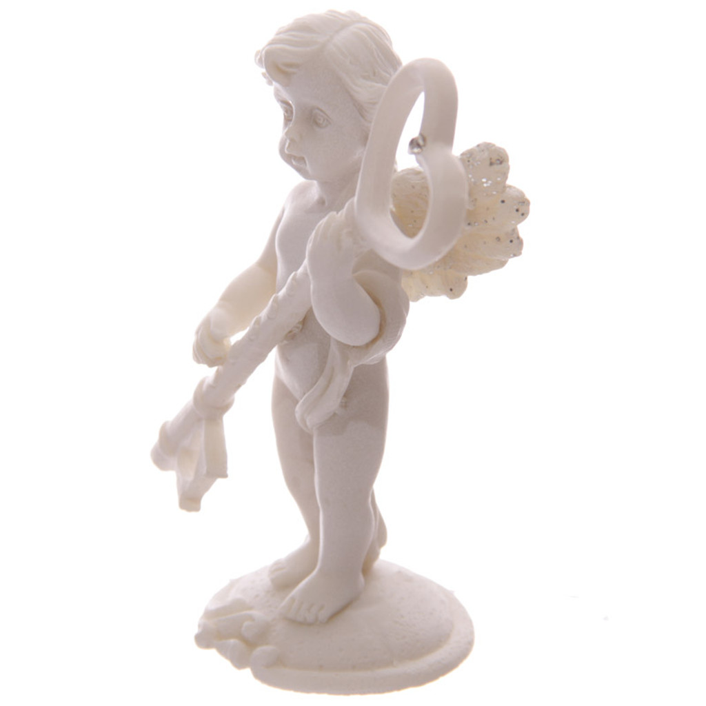 Cherub Holding Crystal Heart Key