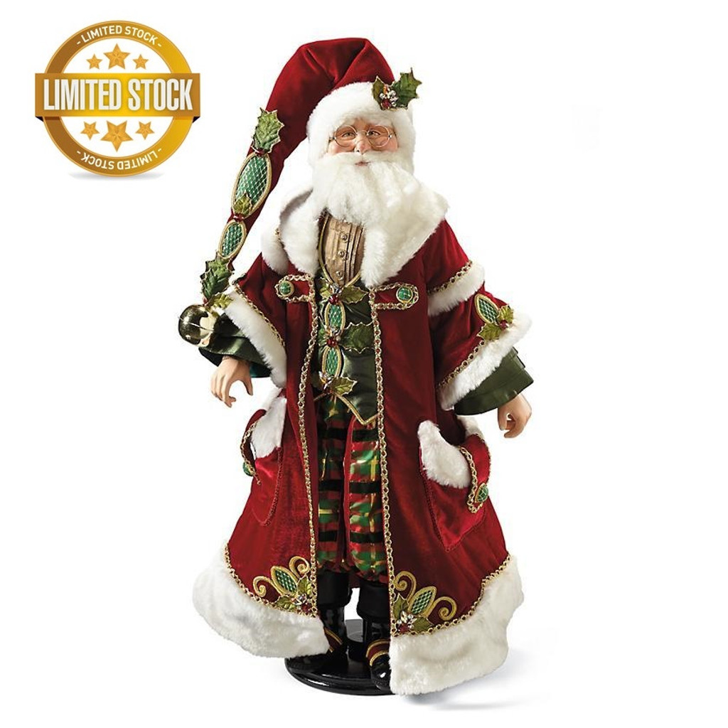 Katherine's Collection 2018 Tartan Traditions Santa Doll New Zealand lamb's wool beard and stunning velvet coat with crystal detail.